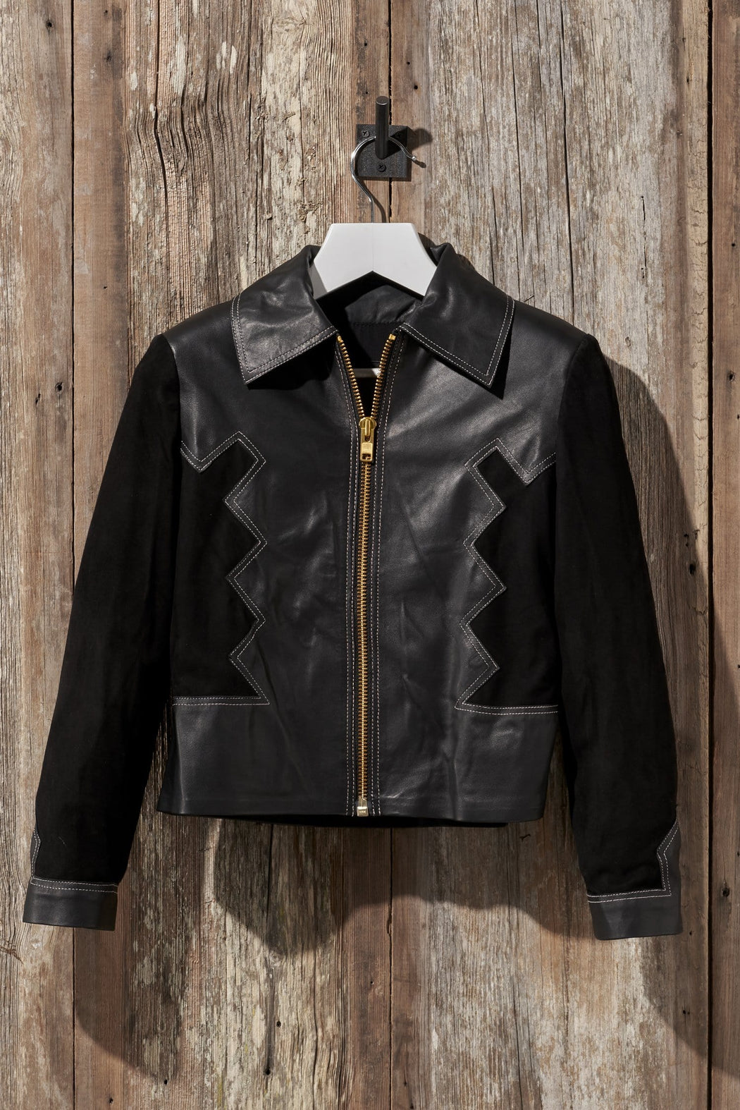 WESTERN PANELED SUEDE AND LEATHER JACKET
