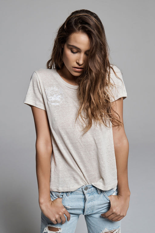 GIDDY UP EMBROIDERED LINEN TEE