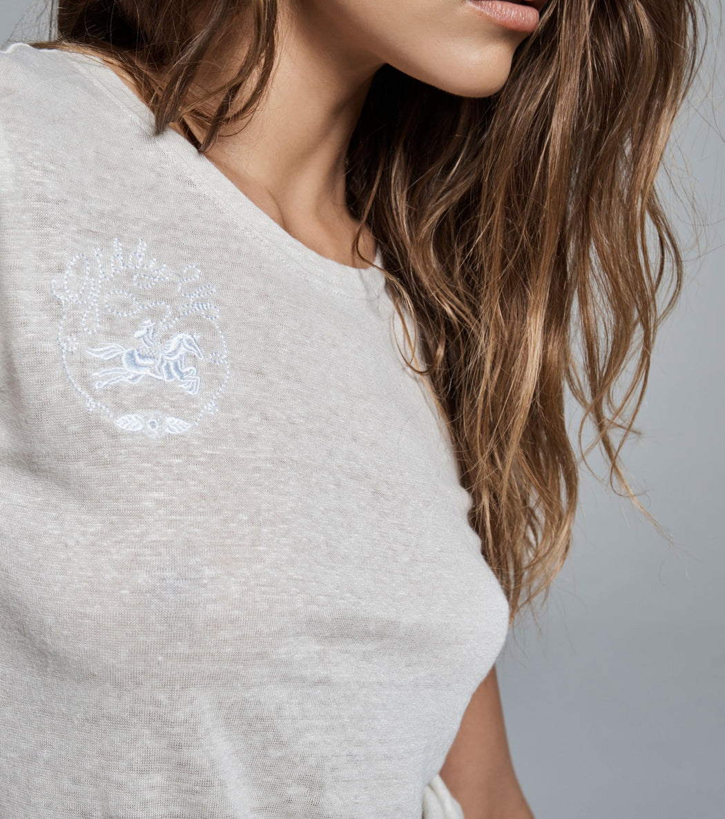 GIDDY UP EMBROIDERED LINEN TSHIRT