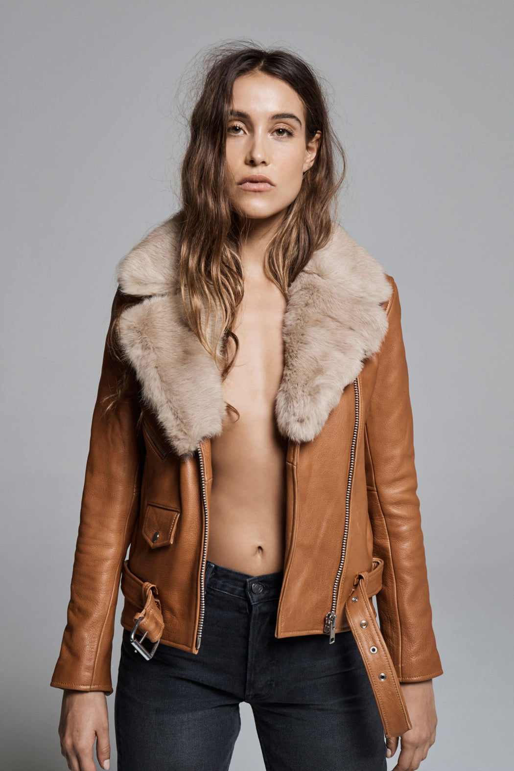 WHISKEY EASY RIDER W/ REMOVABLE NUDE FAUX FUR COLLAR