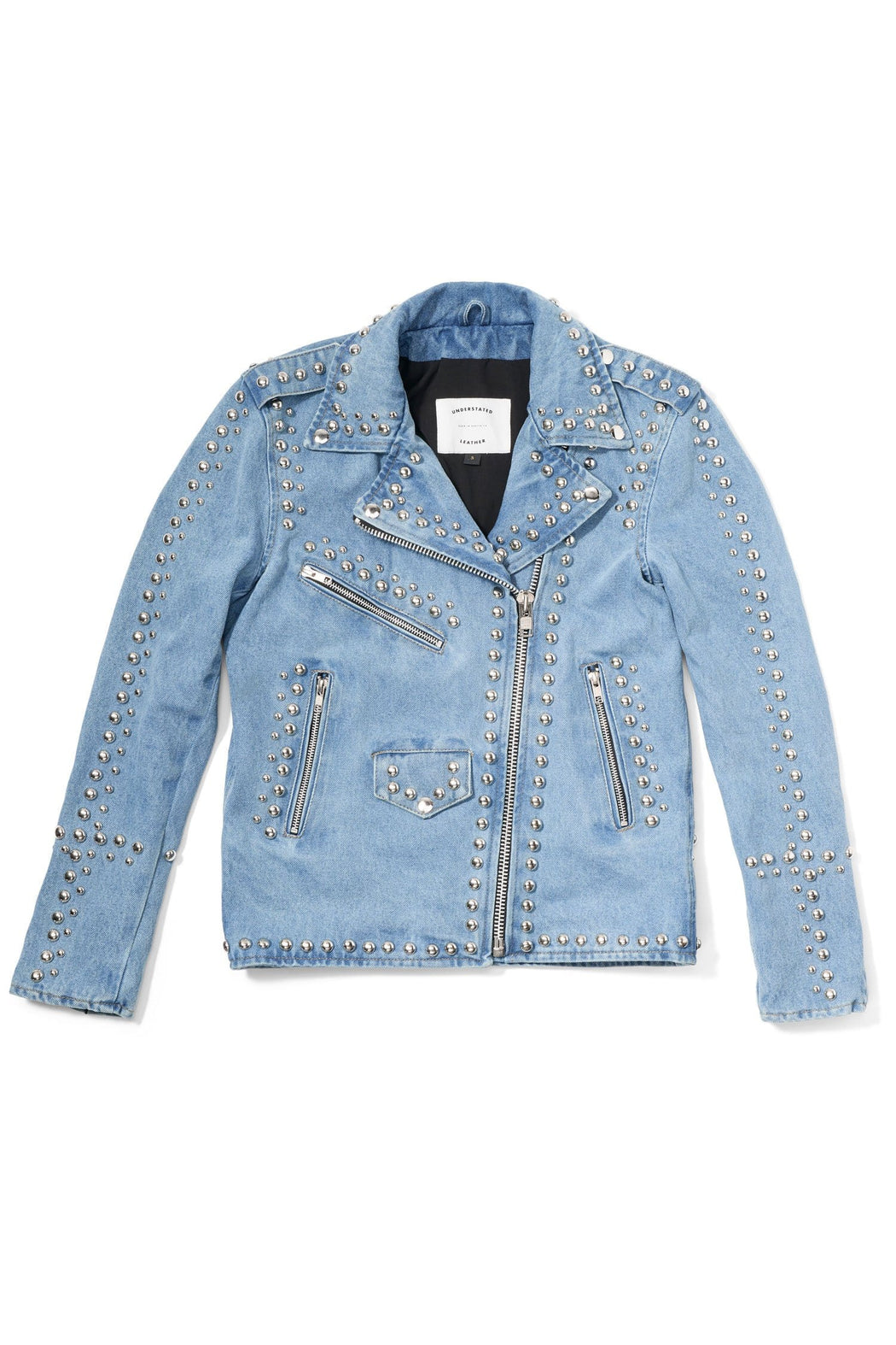 DENIM WESTERN DOME STUDDED JACKET