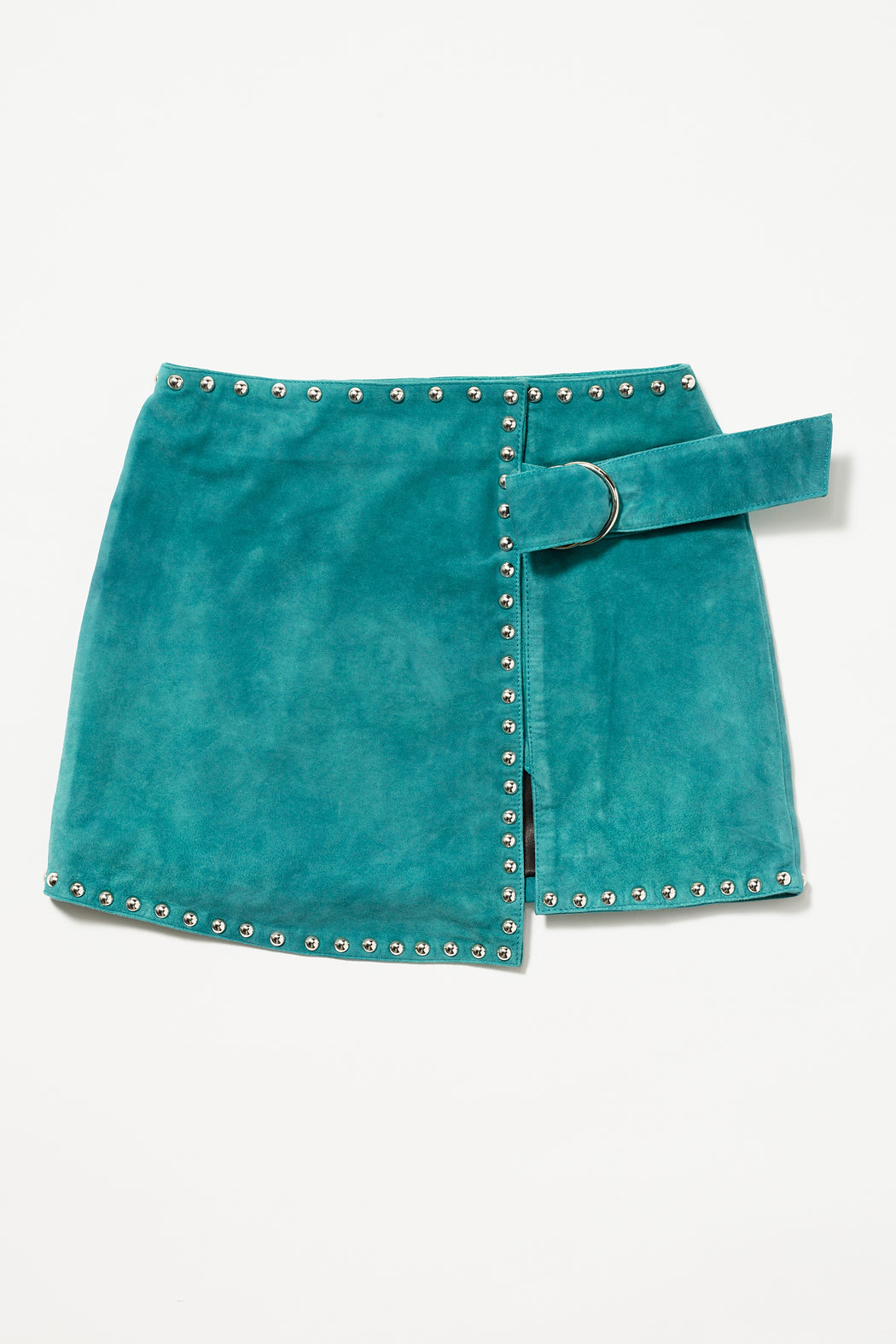 KACEY SUEDE STUDDED WRAP MINI SKIRT
