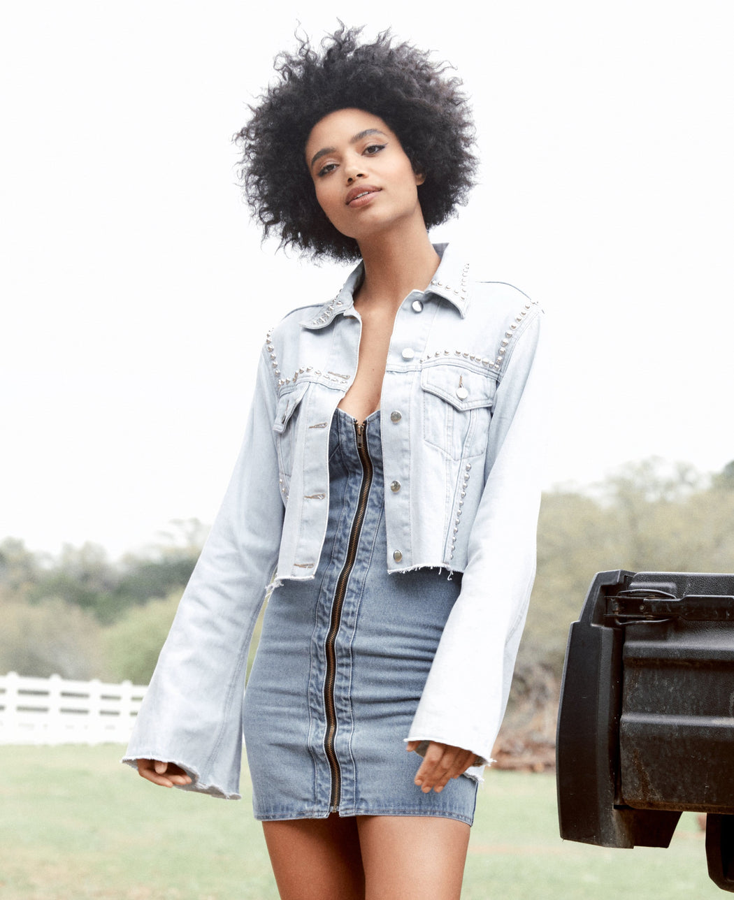 DENIM ZIP UP MINI DRESS