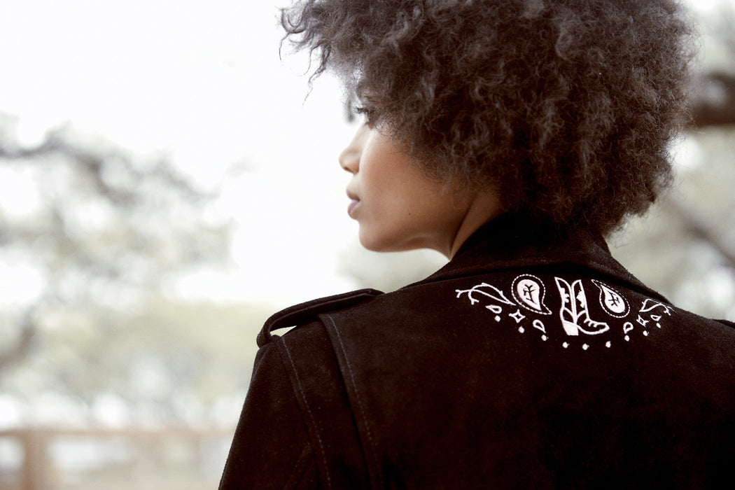 GIDDY UP EMBROIDERED SUEDE SHRUNKEN JACKET