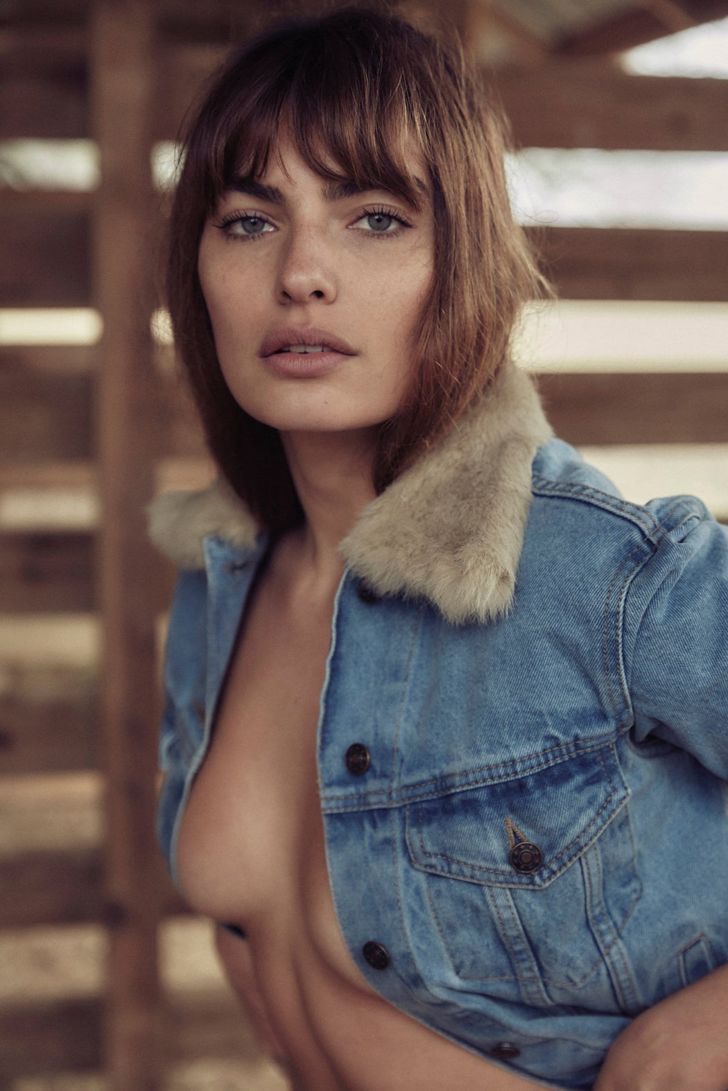 LONE WOLF FAUX FUR DENIM JACKET