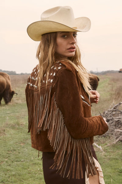 PARIS TEXAS CROP FRINGE JACKET