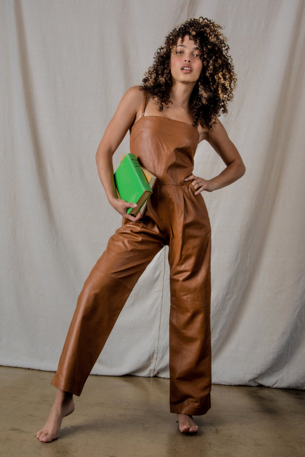 RELAXED LEATHER JUMPSUIT