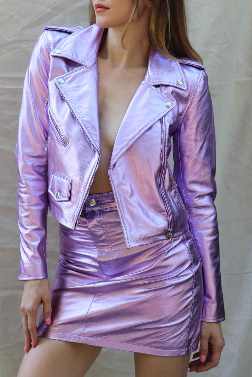 METALLIC MERCY CROPPED JACKET