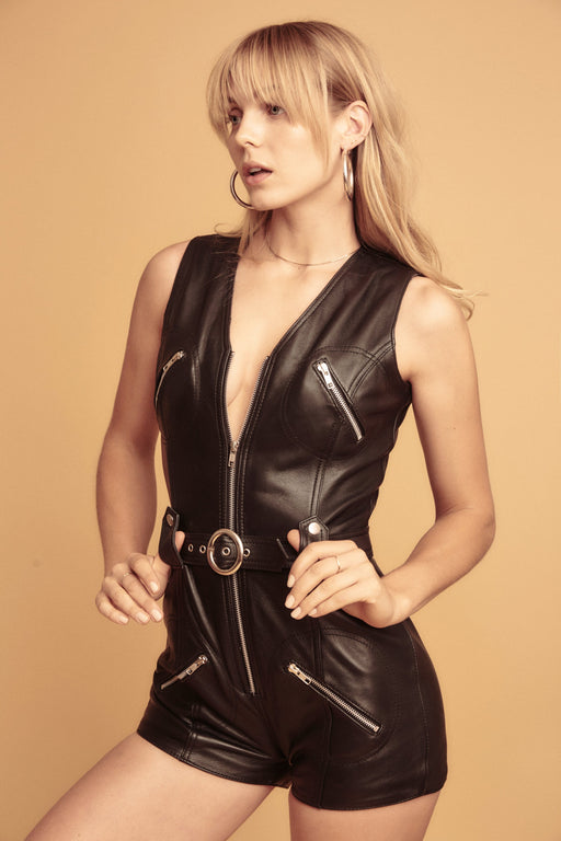 RAISE HELL LEATHER ROMPER