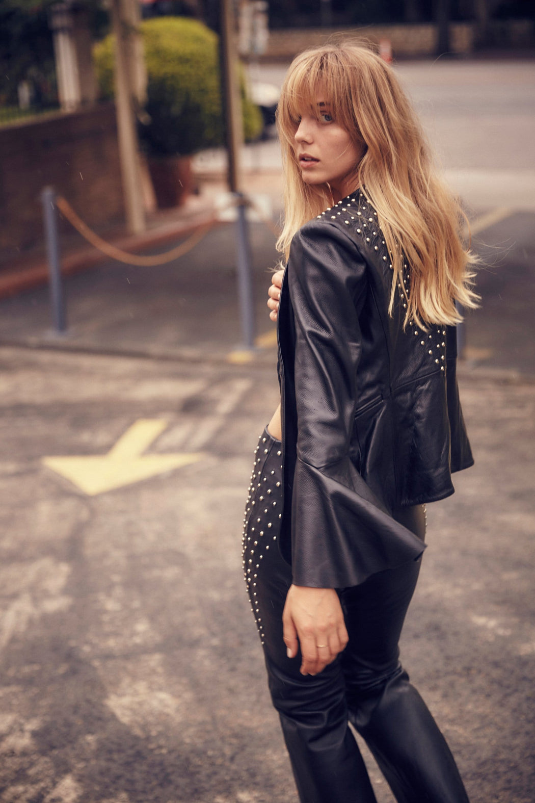 RAISE HELL STUDDED LEATHER BLAZER