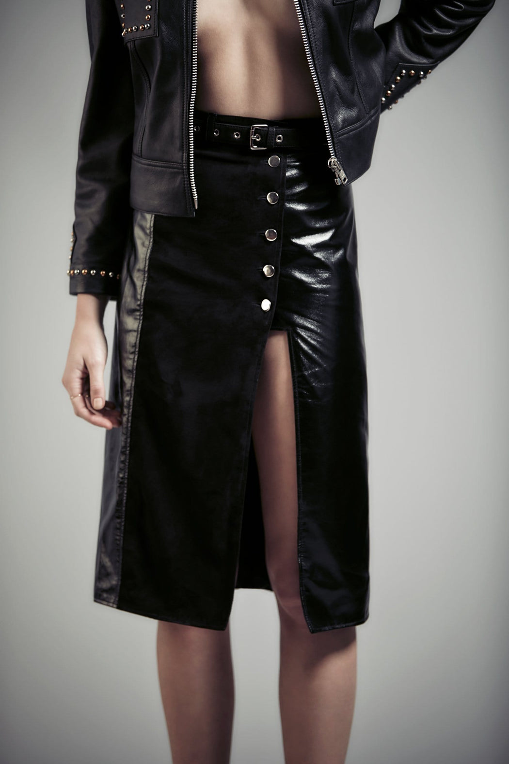 BELTED SUEDE AND PATENT LEATHER MIDI SKIRT