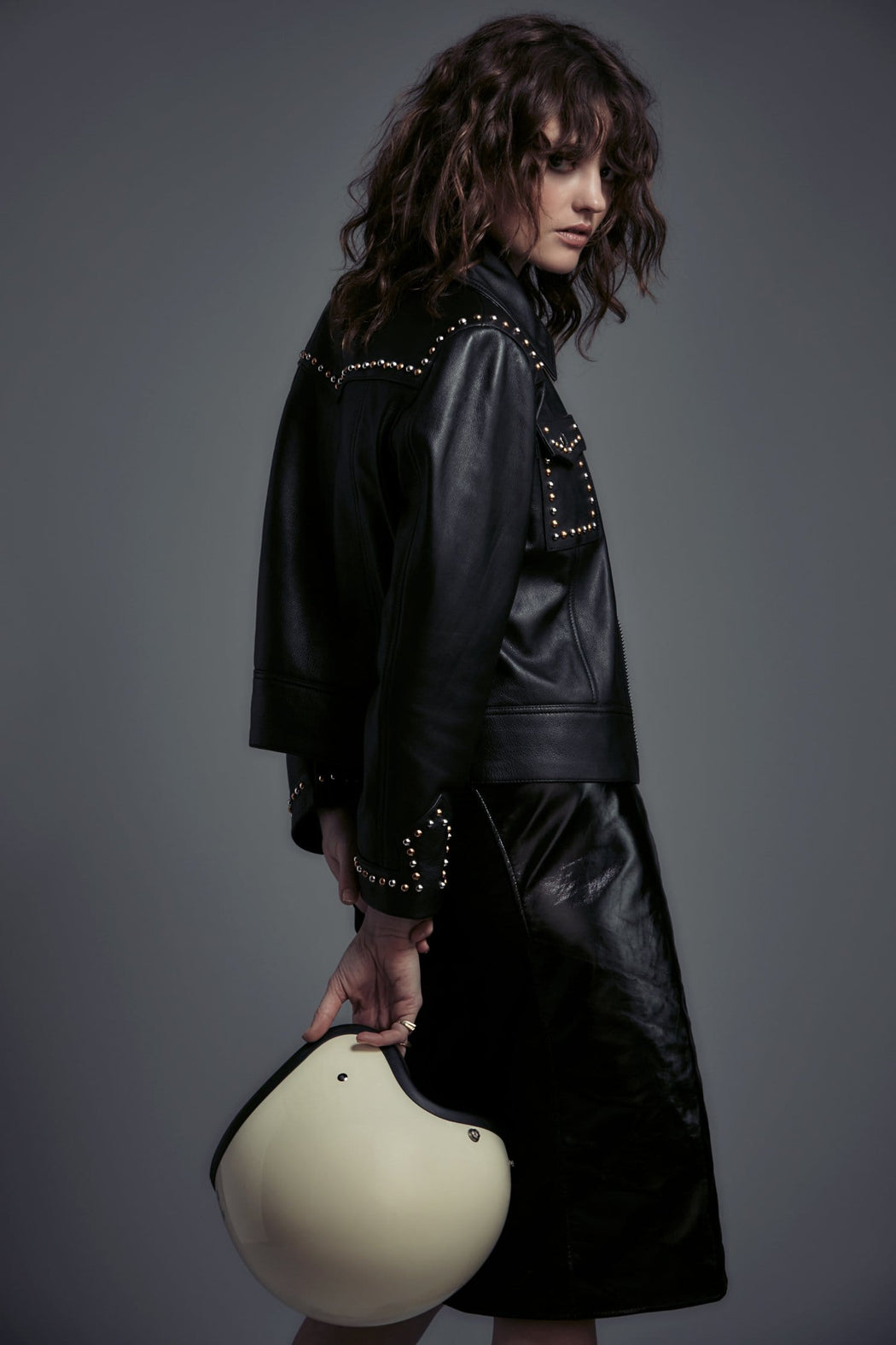 MIXED METAL STUDDED LEATHER JACKET