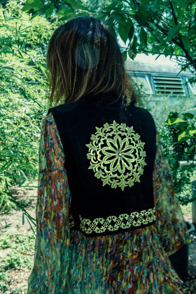 GOLD MANDALA EMBROIDERED MILITARY VEST
