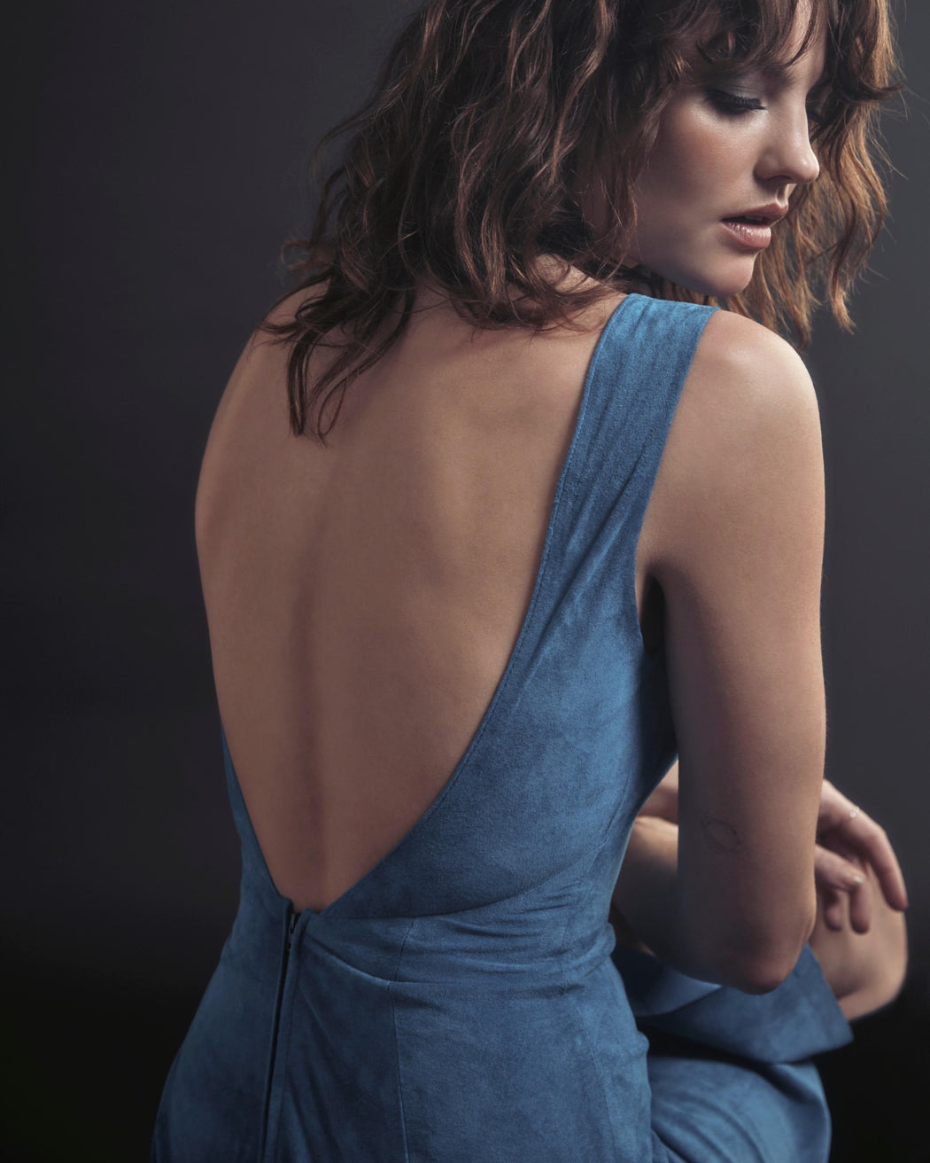 BACKLESS SUEDE MIDI DRESS