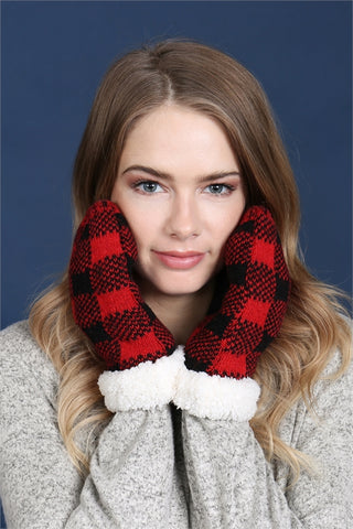 Red and Black Buffalo Plaid Sherpa Mittens