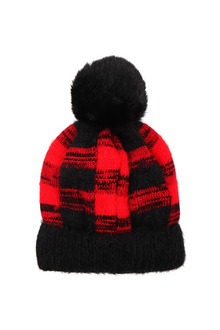 Red Buffalo Plaid Pom Pom  Beanie