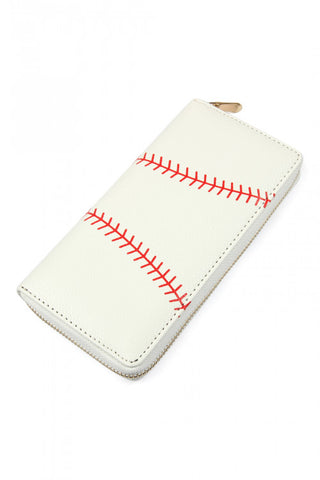 Faux Leather Baseball Inspired Zipper Wallet