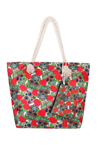 Red and Green Sugar Skull Tote and Wallet