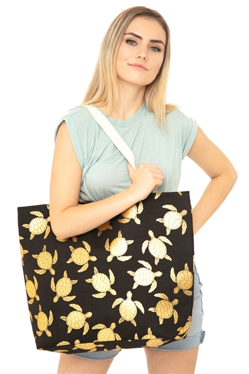 Black Gold Foil Sea Turtle Tote Bag and Matching Pouch