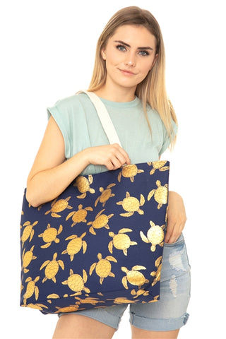 Navy Blue Gold Foil Sea Turtle Tote Bag and Matching Pouch