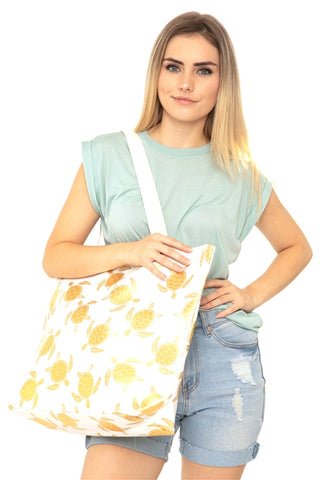 White Gold Foil Sea Turtle Tote Bag and Matching Pouch