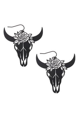 Black Bull Skull Head Earrings