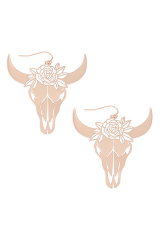 Matte Gold Bull Skull Head Earrings