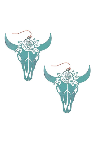 Turquoise Bull Skull Head Earrings