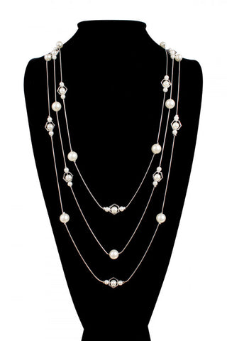 Silver Plate and Faux Pearl Multi Line Necklace