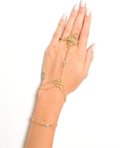 Goldplated Scroll Design Hand Chain Bracelet with Rhinestone