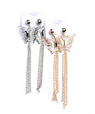 Butterfly Chain and Rhinestone Drop Earrings