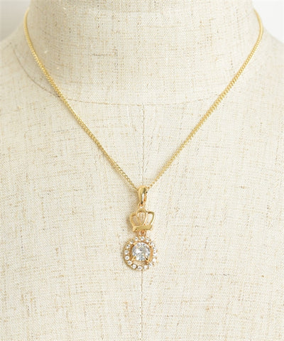 Gold Plate Crown and Rhinestone Necklace