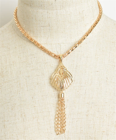 Goldplated Design Chain Tassel Necklace