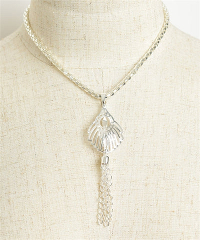 Silverplated Design Chain Tassel Necklace