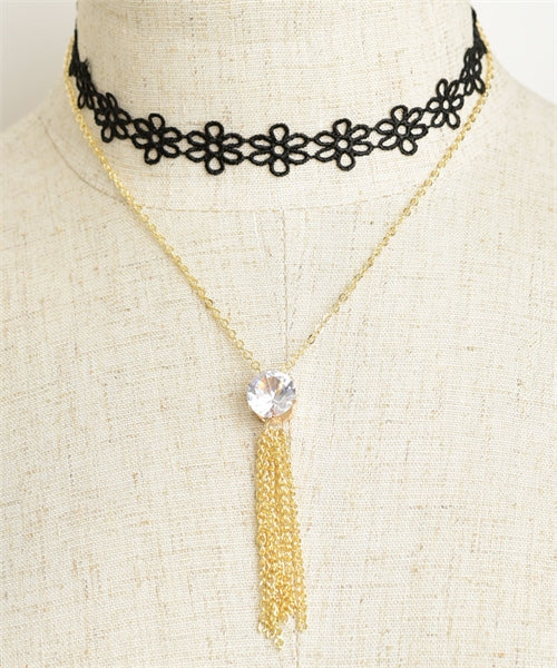 gold plate tassel and stone necklace set