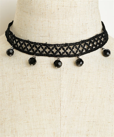 Victorian Inspired Black Beaded Choker Necklace