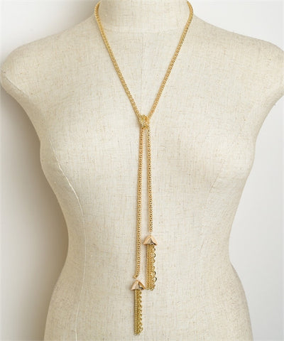 Double Drop Chain Tassel Necklace Goldplate or Silverplate