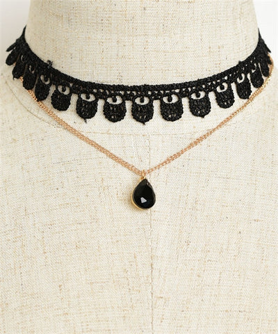 Victorian Steampunk Inspired 2pc Choker and Chain Necklace Set