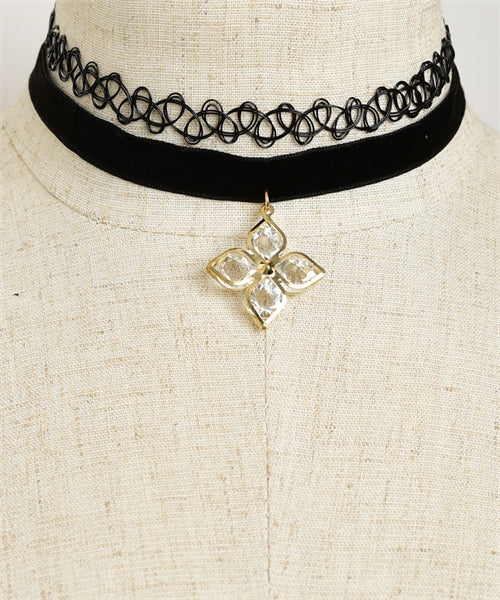 2pc Black Velvet Choker Necklace with Flower Accent
