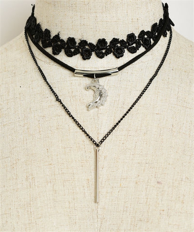 Black Lace Choker Necklace with Moon and Tassel Accent