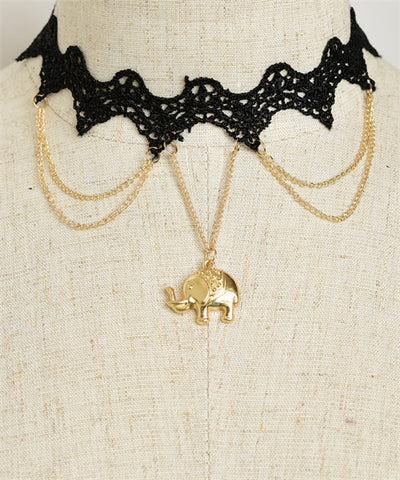 Black Lace Choker Necklace with Elephant Accent