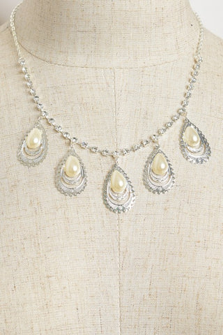 Pearl and Rhinestone Teardrop Necklace Set