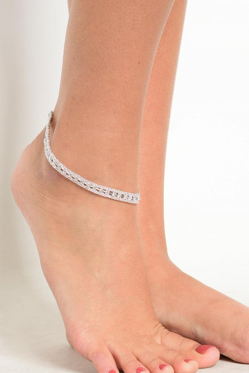 Silverplate Multi Stone Ankle Bracelet
