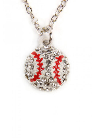 Rhinestone Baseball Charm Necklace