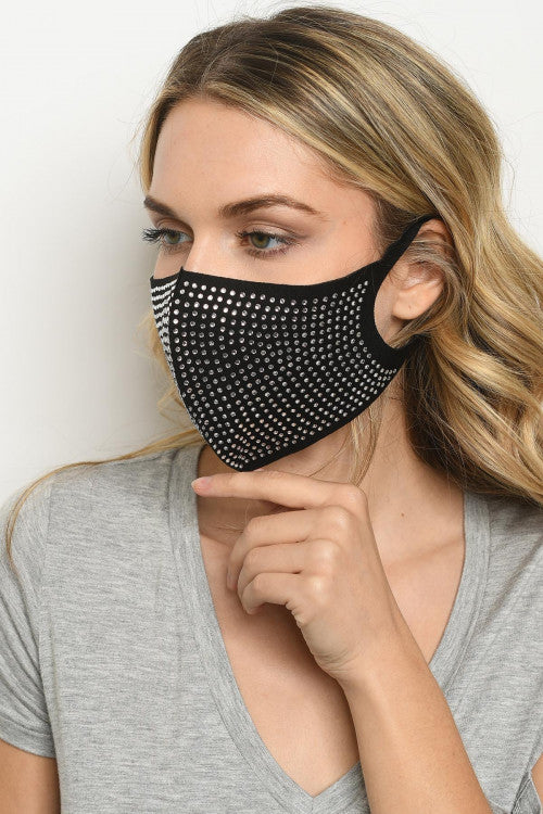 Black Rhinestone Reusable Face Mask