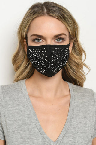Black Multi Rhinestone Reusable Face Mask