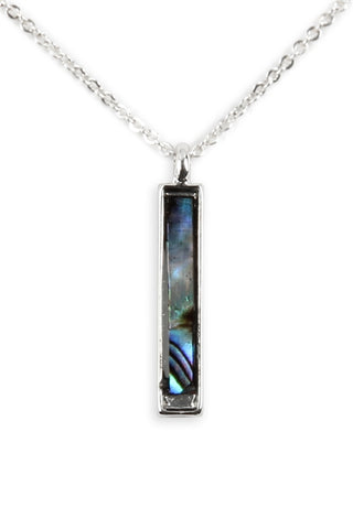 Genuine Abalone Shell Bar Pendant Necklace Silverplate