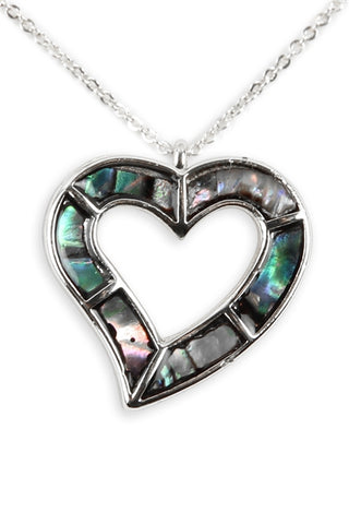 Genuine Abalone Shell Open Heart Pendant Necklace Silverplate