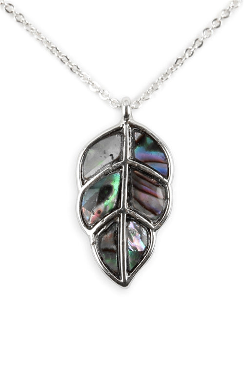 Genuine Abalone Shell Leaf Pendant Necklace Silverplate