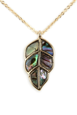 Genuine Abalone Shell Leaf Pendant Necklace Gold Plate